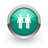 Couple green glossy web icon — Stock Photo