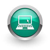Computer green glossy web icon — Stock Photo