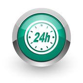 24h green glossy web icon — Stockfoto