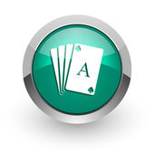 Card green glossy web icon — Stock Photo