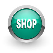 Shop green glossy web icon — Stock Photo