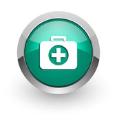 First aid green glossy web icon — Stock Photo