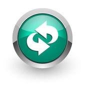 Rotation green glossy web icon — Stock Photo