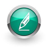 зеленый глянцевый web значок карандаша — Стоковое фото