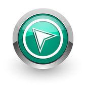 Navigation green glossy web icon — Stock Photo