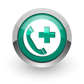 Emergency call green glossy web icon — Stockfoto