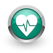 Pulse green glossy web icon — Stock Photo