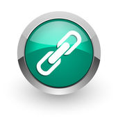 Link green glossy web icon — Stock Photo