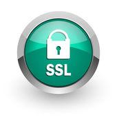 Ssl green glossy web icon — Стоковое фото