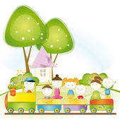 Happy kids in train — Vector de stock