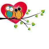 Búhos y corazones — Vector de stock