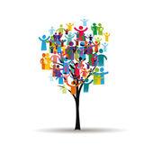 Pictogramas en el árbol — Vector de stock