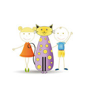 Kids with cat — Stock Vector