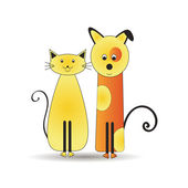 Cat and dog — Vector de stock