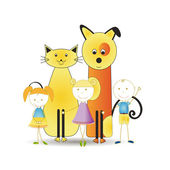 Kids with pets — Stock Vector