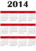 Simple 2014 calendar — Stock Vector