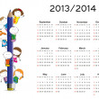 Stock Vector: Simple calendar on new school year 2013 and 2014