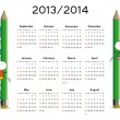 Simple calendar on new school year 2013 and 2014 — Stock Vector