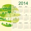 Cute calendar on 2014 year — Stock Vector