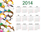 Simple 2014 kids calendar — Vecteur