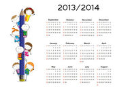 Simple calendar on new school year 2013 and 2014 — Vecteur