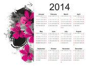 Söt kalender på 2014 år — Stockvektor