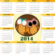 Stock Vector: Calendar on 2014 year