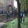 Work on street near blockflat — Foto de Stock