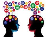 Concepto de comunicación educación social — Vector de stock