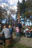 Family Sunday rest on the mountain shelter. Goat Mountain near Bielsko-Biala, Poland — Stock Photo