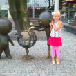 Stock Photo: Girl and cartoon characters Bolek and Lolek, Bielsko-BialPoland