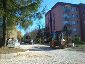 Work on street, Bielsko-Biala Poland — Stock Photo