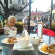 Stock Photo: Sunday sweet in cafe. Cafe in park in Żywiec, Poland