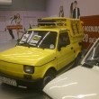 Fiat 126p. Historic small car produced in Poland. Exchibition of vintage cars in Gemini galery in Bielsko-Biala in Poland — Stock Photo