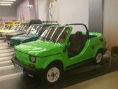 Fiat 126p. Historic small car produced in Poland. Exchibition of vintage cars in Gemini galery in Bielsko-Biala in Poland — Photo
