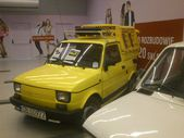 Fiat 126p. Historic small car produced in Poland. Exchibition of vintage cars in Gemini galery in Bielsko-Biala in Poland — Zdjęcie stockowe