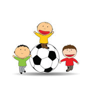 Happy kids and soccer — Stock Vector