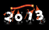 Comic 2013 New Year's Eve character, vector — Stock Vector