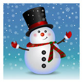 Snowman wearing santa hat and gloves - background, vector — Stock Vector