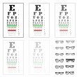 Stock Vector: Eye test chart with glasses, vector
