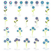 Colorful springtime flowers set, vector — Vettoriale Stock