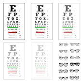 öga testbild med glasögon, vektorgrafik — Stockvektor