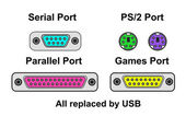 Compare ports, all replaced by USB, vector — Stock Vector