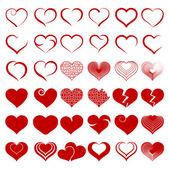Set of symbol heart, vector — Stock Vector