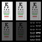 Eye test chart with glasses, vector — Stock Vector
