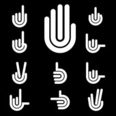 Hand Gestures and signals -set of vector icons for your design — Stock Vector