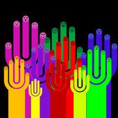 Glückliche gruppe von finger-smileys mit sozialen chat zeichen, vektor — Stockvektor