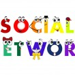 Social Network characters, models connected together, vector — Stock Vector