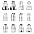 Set of woman skirts, vector - Stock vektor