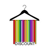 Colorful discount barcode clothes hanger — Stockvector
